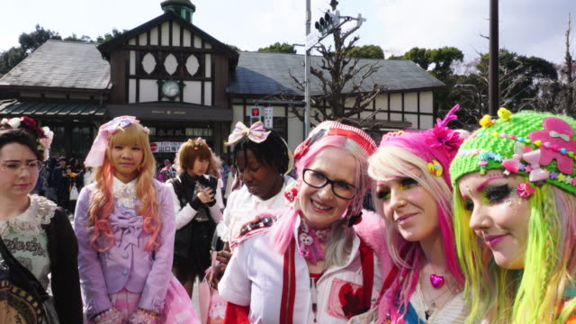 cosplayers are people who dress up as anime, manga and cartoon characters, in specific dresses. - manga style stock videos & royalty-free footage