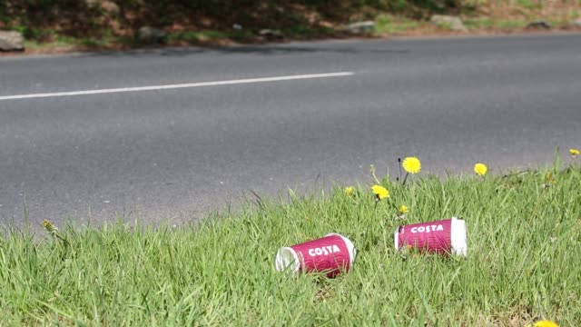 costa coffee cups thrown from a passing vehicle onto a roadside verge in ambleside lake district uk - dandelion stock videos & royalty-free footage