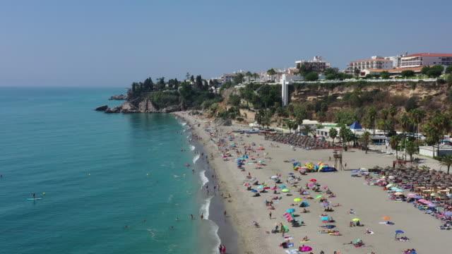 costa del sol beach scenery / malaga, spain - hut stock videos & royalty-free footage