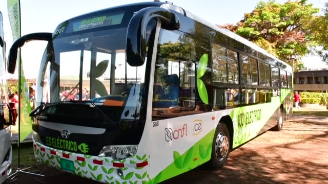costa rica is launching a pilot plan this year to electrify its buses with 15 units that will circulate throughout the country the government says - costa rica stock videos & royalty-free footage