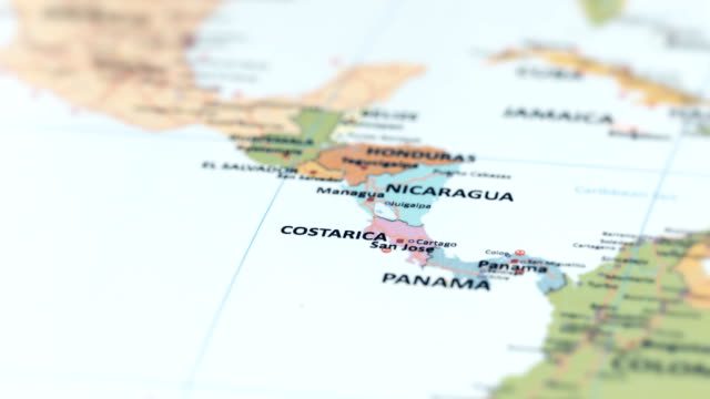 north america costa rica on world map - costa rica video stock e b–roll