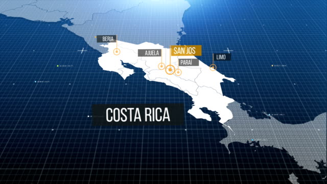 costa rican map - costa rica stock videos & royalty-free footage