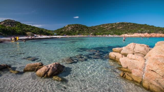 costa smeralda beach in sardinia - spiaggia del principe - spiaggia stock videos & royalty-free footage