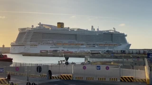 costa smeralda cruise ship is seen docked at civitavecchia port after one passenger fell ill with a high fever on january 30 2020 in civitavecchia... - coronavirus stock videos & royalty-free footage