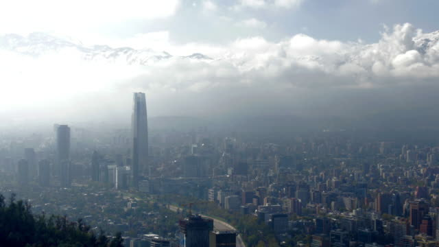 costanera center and city streets viewed from the top of the cerro san cristobal - prosperity stock videos & royalty-free footage