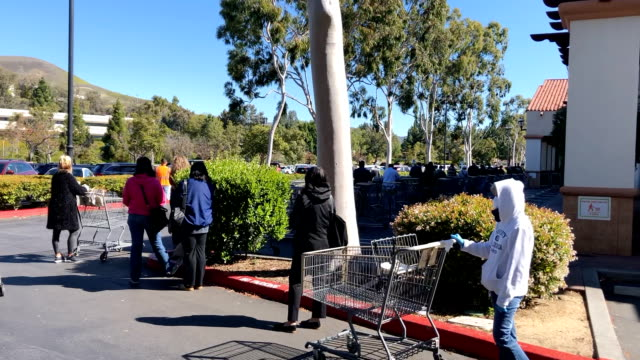 costco line in southern california during the coronavirus pandemic. - line stock videos & royalty-free footage