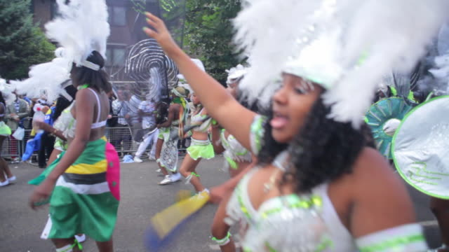 WS PAN Costumed dancers parade in Notting Hill Carnival / London, United Kingdom