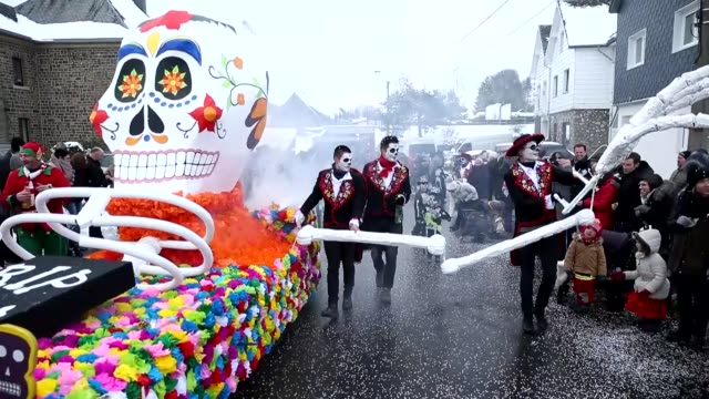 Costumed people take part in a parade during the annual Faymonville Carnival in the Faymonville village of Liege Belgium on February 12 2018 The...