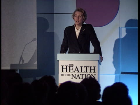 cot death numbers fall lms virginia bottomley speaking at health of the nation pkf ms virginia bottomley mp speaking at pkf sof we got over the... - virginia bottomley stock-videos und b-roll-filmmaterial