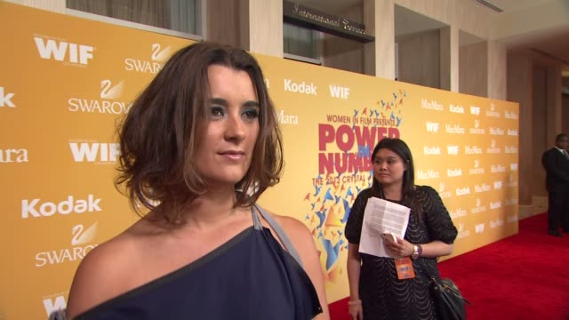cote de pablo on why she wanted to celebrate women in film what women are inspiring to her how she tries to inspire other women talks about wearing... - the beverly hilton hotel stock videos & royalty-free footage