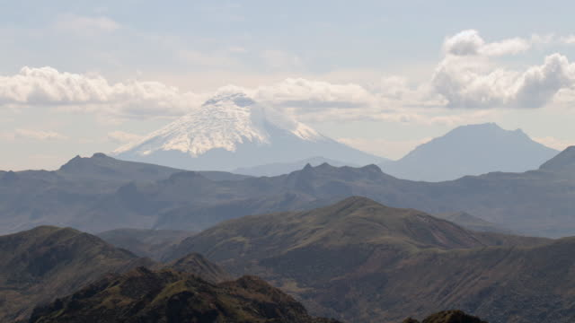 cotopaxi volcano, ecuador with rugged andean scenery in the foreground, viewed from the crest of the eastern cordillera near papallacta. - vulkan stock-videos und b-roll-filmmaterial