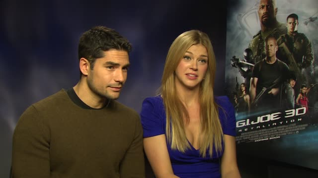 j cotrona adrianne palicki on seeing the film in 3d seeing themselves on screen at 'gi joe retaliation' junket interviews at corinthia hotel london... - adrianne palicki stock videos and b-roll footage