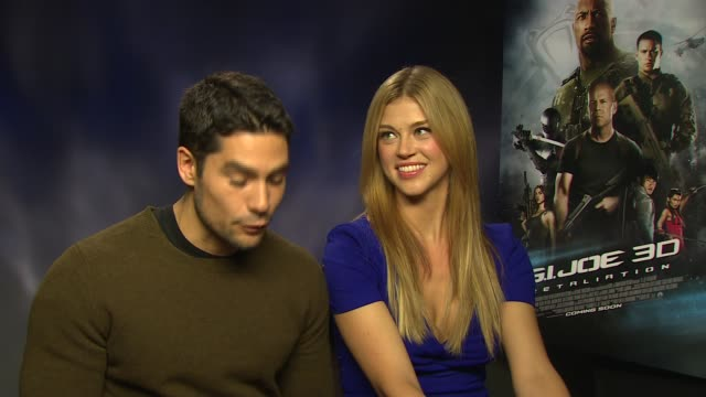 j cotrona adrianne palicki on the improv on set with dwanye johnston at 'gi joe retaliation' junket interviews at corinthia hotel london on march 18... - adrianne palicki stock videos and b-roll footage