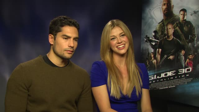 j cotrona adrianne palicki on who she was looking forward to working with on the film at 'gi joe retaliation' junket interviews at corinthia hotel... - adrianne palicki stock videos and b-roll footage