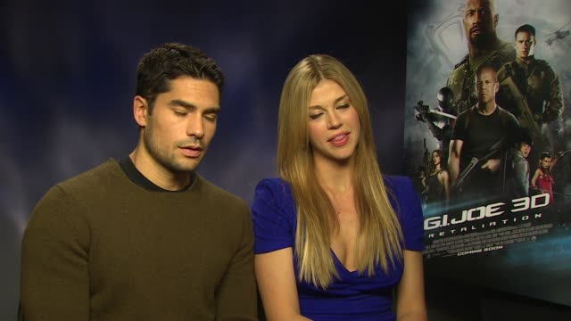 j cotrona adrianne palicki on working with jon m chu how he captures movement at 'gi joe retaliation' junket interviews at corinthia hotel london on... - adrianne palicki stock videos and b-roll footage