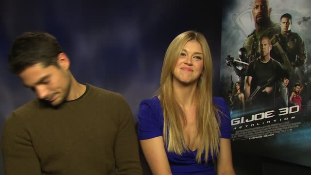 j cotrona adrianne palicki on working with the cast her mother being a fan at 'gi joe retaliation' junket interviews at corinthia hotel london on... - adrianne palicki stock videos and b-roll footage