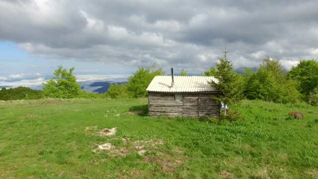 cottage on the mountain aerial view - cottage stock videos & royalty-free footage