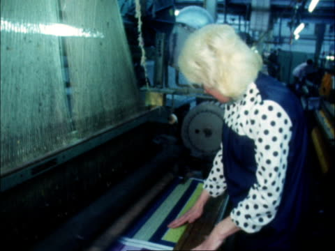 cotton mill girls turn up for work interviews on the 3day week england bolton hand towels towel weaving machine girl watching machine another ditto... - week stock videos and b-roll footage