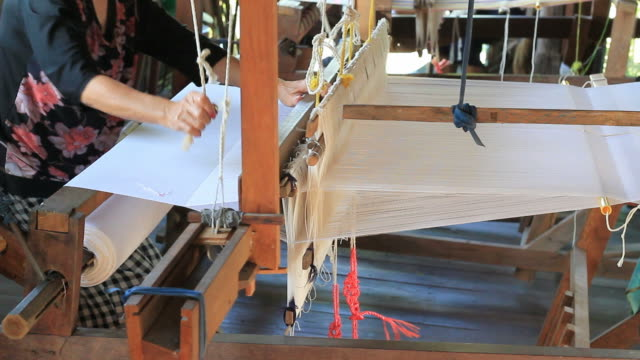 cotton weaving on a loom - loom stock videos & royalty-free footage
