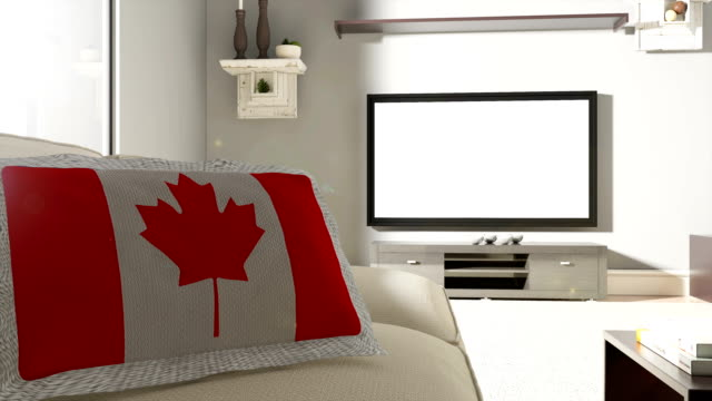 couch and tv with canadian flag - fan enthusiast stock videos & royalty-free footage