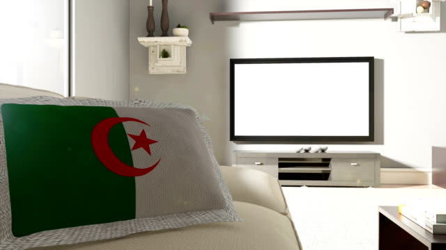 Couch and TV With Flag of Algeria