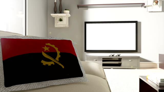 Couch and TV With Flag of Angola