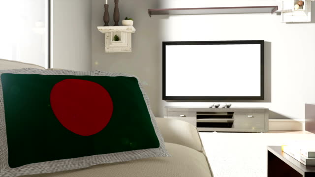couch and tv with flag of bangladesh - flag of bangladesh stock videos & royalty-free footage