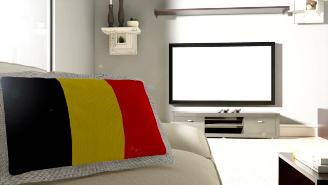 couch and tv with flag of belgium - fan enthusiast stock videos & royalty-free footage