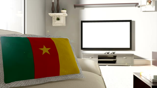 Couch and TV With Flag of Cameroon