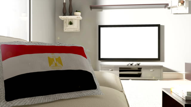 Couch and TV With Flag of Egypt
