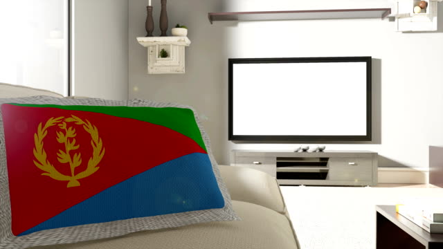 Couch and TV With Flag of Eritrea