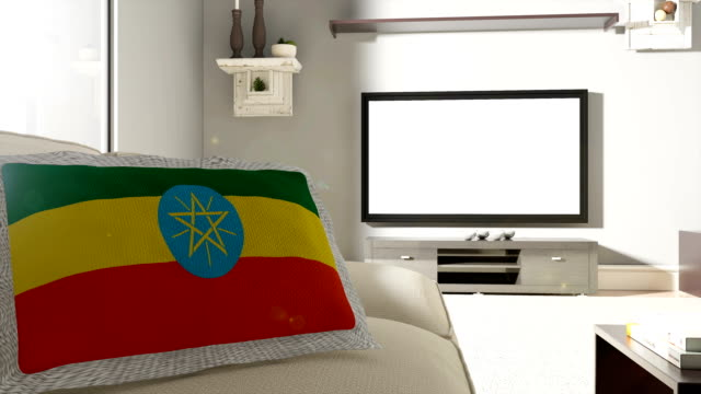 Couch and TV With Flag of Ethiopia
