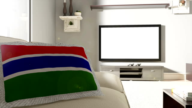 Couch and TV With Flag of Gambia
