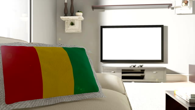 couch and tv with flag of guinea - fan enthusiast stock videos & royalty-free footage