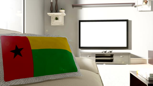 Couch and TV With Flag of Guinea-Bissau
