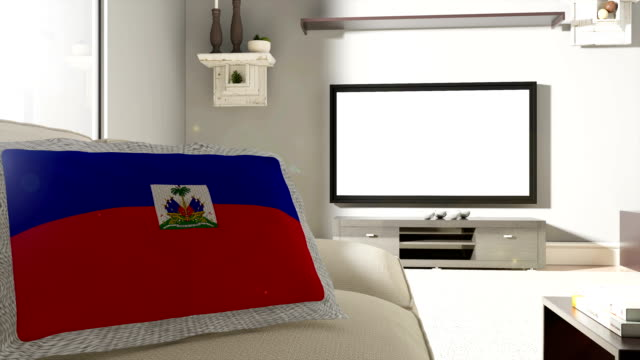 couch and tv with flag of haiti - flag haiti stock videos & royalty-free footage