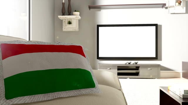 Couch and TV With Flag of Hungary