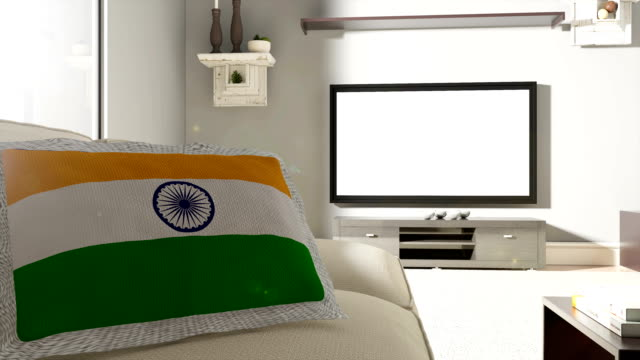 Couch and TV With Flag of India