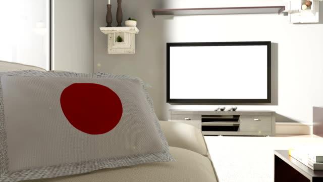 ソファとテレビ日本の旗 - 室内装飾点の映像素材/bロール