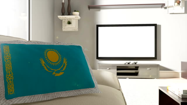 Couch and TV With Flag of Kazakhstan