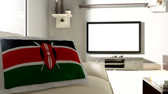Couch and TV With Flag of Kenya