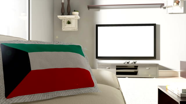 Couch and TV With Flag of Kuwait