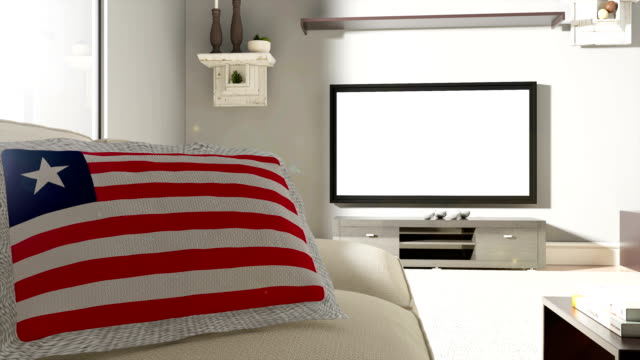 Couch and TV With Flag of Liberia