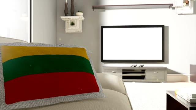 couch and tv with flag of lithuania - replacement stock videos & royalty-free footage