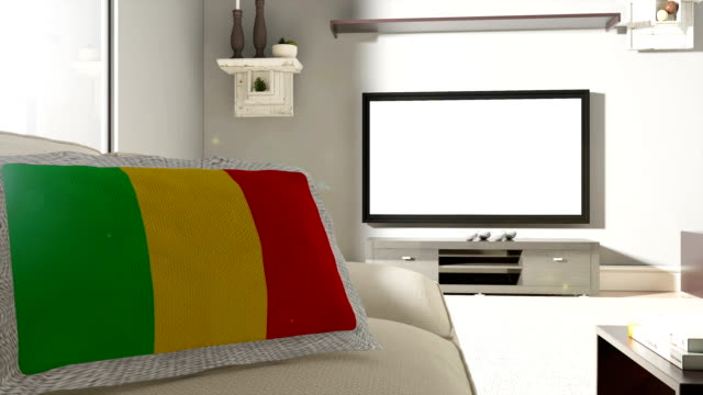 Couch and TV With Flag of Mali