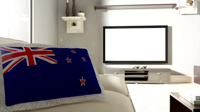 Couch and TV With Flag of New Zealand