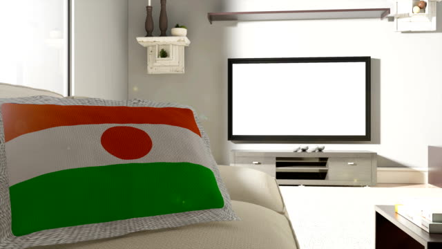 Couch and TV With Flag of Niger