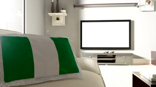 Couch and TV With Flag of Nigeria