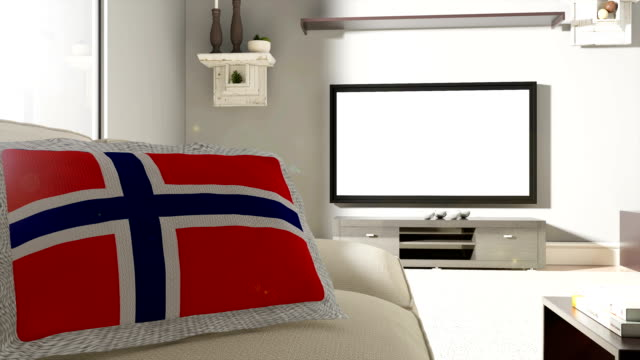 couch and tv with flag of norway - traditionally norwegian stock videos & royalty-free footage