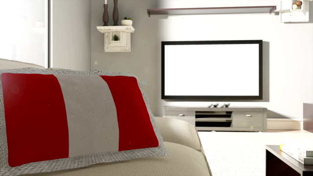 Couch and TV With Flag of Peru